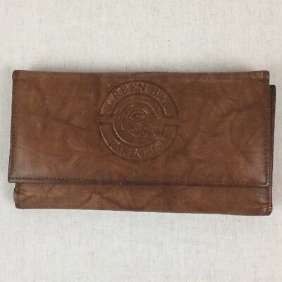 Vintage Green Bay Packers Tooled/Embossed Leather Wallet Checkbook Coin Purse
