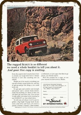 1964 INTERNATIONAL HARVESTER SCOUT RED 4X4 TRUCK Vintage Look Replica Metal Sign
