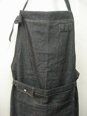 Japanese Style Work Shop Cafe Kitchen Apron Black Cotton Denim w/ 4 pockets Cute
