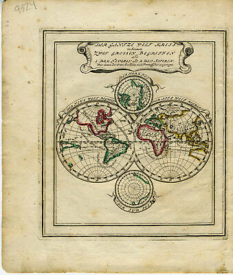 1710 Genuine Antique Double Hemisphere map of the World. by G. Bodenehr
