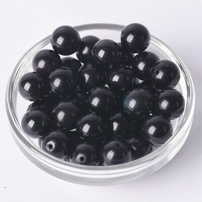 Black Obsidian Natural Stone Gemstone Round Spacer Loose Beads 4~12mm Crafts