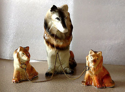 Vintage Chalkware Collie Dog Mom with 2 Puppies on Chains Made in Japan