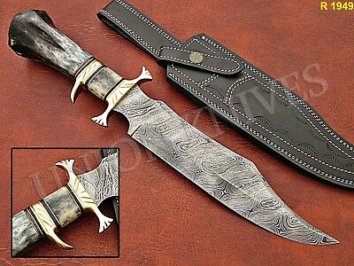 Custome Hand Made Damascus Steel Hunting Knife With Camel Bone Handle.