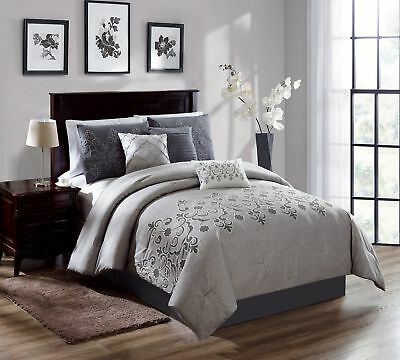 Chezmoi Collection 7-Piece Gray Chenille Floral Scroll Comforter Set, Queen