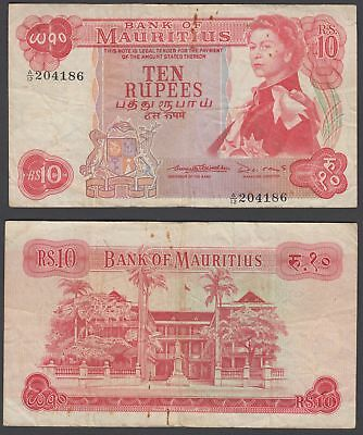 Mauritius 10 Rupees 1967 (F-VF) Condition Banknote P-31b QEII