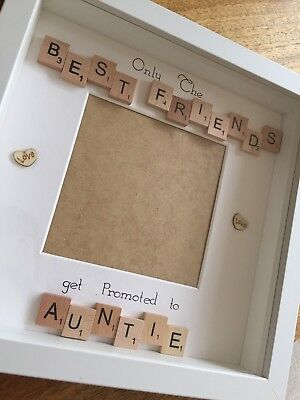Only The Best Friends Get Promoted To Godparents Scrabble Photo Frame Xmas