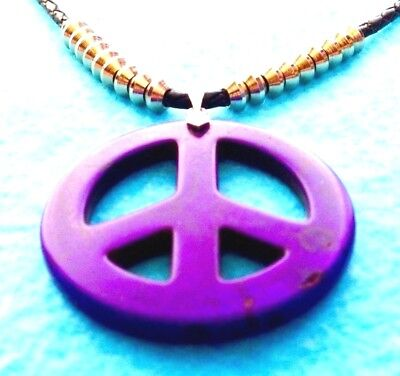 #43 SALE PURPLE PEACE SIGN 45mm MAGNESITE GEM WOVEN LEATHER NECKLACE+NATIVE MADE