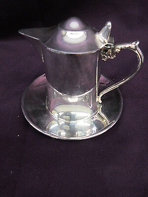 """Vintage WALLACE Silver Plate Creamer with Under Plate Hinged Lid """"M-616"""""""