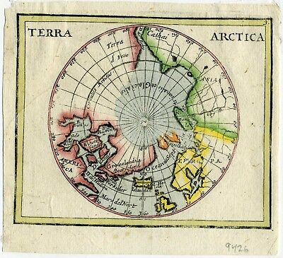 1661-1678 Genuine Antique map North pole. Arctic Polar projection. P. Du Val