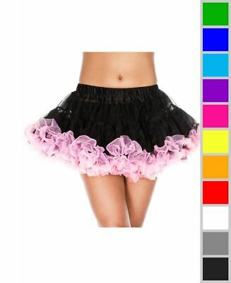 New Music Legs 715 Contrast Colored Trim Soft Tulle Petticoat