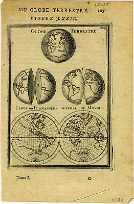 1683 Genuine Antique map of East & West Hemispheres. A.M. Mallet