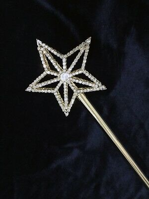 """Crystal Rhinestones Gold Big Star Scepter With Two Side  .19.5/"""" Long"""