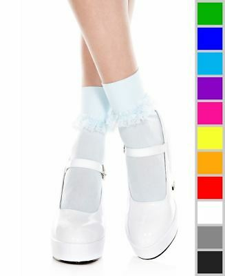 cb39d31837 New Music Legs 513 Opaque Ankle High Socks With Ruffle Trim