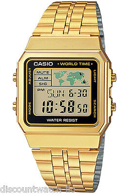 Casio A500WGA-1D World Time Digital Stainless Steel Watch WORLD MAP Gold NEW