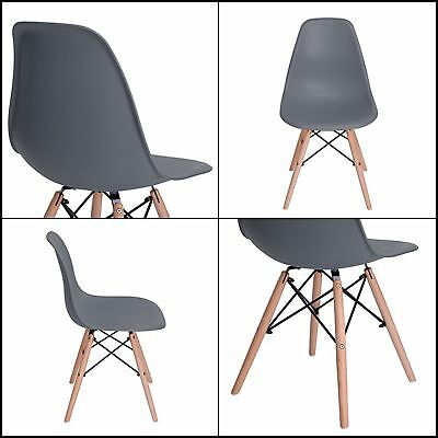 Set of 4 Eames Style Molded Natural Wood Legs Dining Room Chairs Contemporary