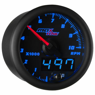 MaxTow 52mm Black & Blue  Double Vision 10,000 RPM Tachometer Gauge Kit