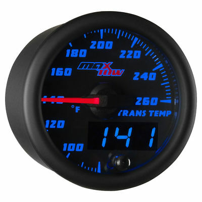 MaxTow 52mm Black & Blue Double Vision Transmission Temperature Gauge - MT-BDV12