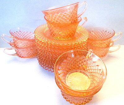 Pink Miss America Depression Glass Cups and Saucer Anchor Hocking Set of Ten