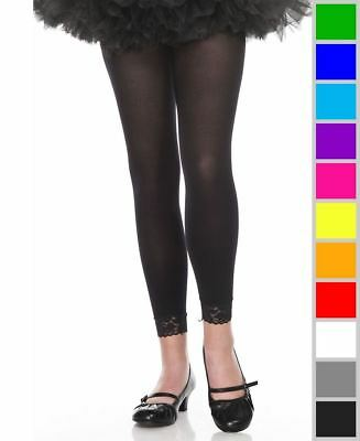 New Music Legs 275 Girls Opaque Leggings With Lace Trim