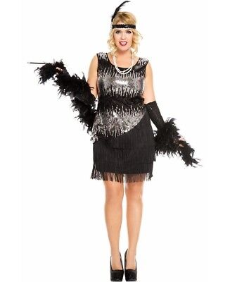 New Music Legs 70595Q-B Plus Size Black Fearless Flapper Costume