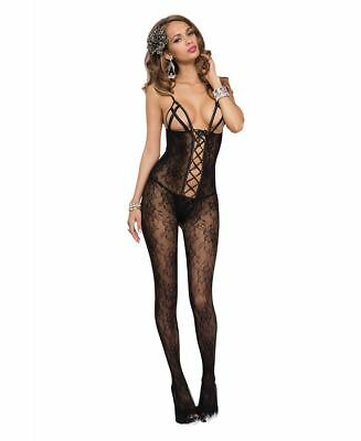 d1d0d5c20e New Music Legs 1147 Open Cup Bodystocking With Criss Cross Lace Up