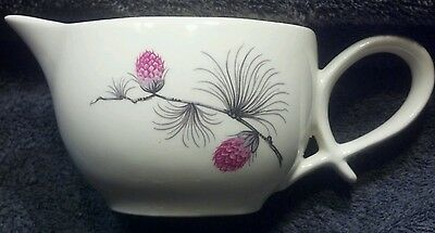 Mint Vintage Ceramic Oblong Creamer/small Pitcher White With Pink/gray/black