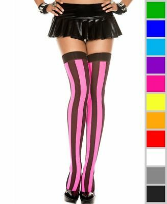 256fb99f8 VERTICAL STRIPED THIGH High Stockings Opaque Woven Costume Black ...