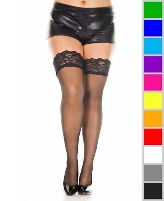 83e61872fb1 NEW MUSIC LEGS 4110Q Plus Size Sheer Lace Top Thigh High Stockings ...