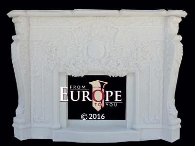 Beautiful Hand Carved Solid  Marble Fireplace Mantel - Tv125