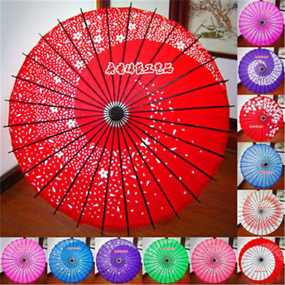 Handmade Chinese Oiled Paper Umbrella 3D Sakura Printed Wedding Party Art Decor