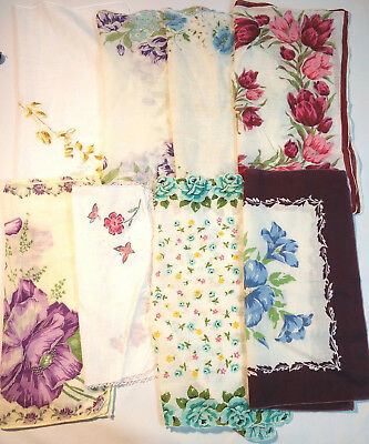 Lot of 8 Vintage Square Floral Botanical Handkerchiefs Slight stain or Age Spot