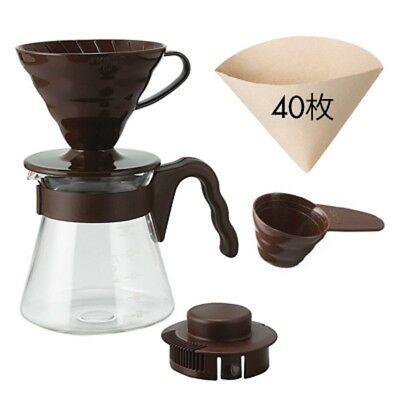Japan HARIO V60 Coffee Server 02 Set Chocolate Brown 1-4 cups 40 Filters 700ml