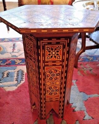 Damascus / Syrian Mosaic Side Table - Mid 20th Century