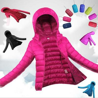 US Winter Womens Hooded Ultralight Down Jacket Puffer Bubble Coat Light Packable