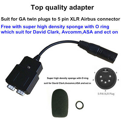 General Aviation headset to airbus Headset adapter  GA-AB
