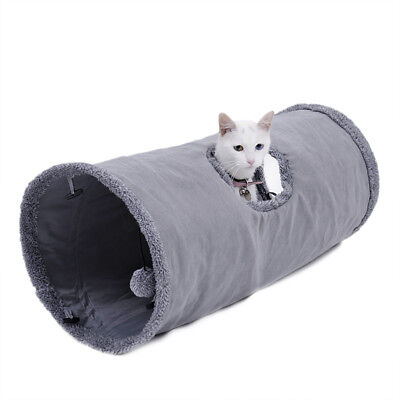 Pet Cat Tunnel Suede Large Cat Play Tunnels Rabbit Fun Play Toys With Ball Grey