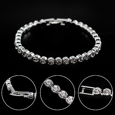 UK Silver Plated Tennis Bracelet Made with Swarovski Crystal Bling Party Bridal