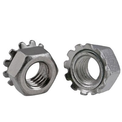 QTY 10 - M6 x 1mm Pitch K-Lock Nuts (Keps) Hex Nuts 304 Stainless Steel