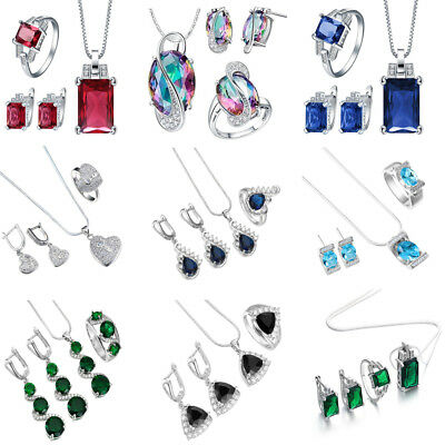925 Silver Filled Ruby Sapphire Gem Pendant Necklace+Earrings+Ring Jewelry Set
