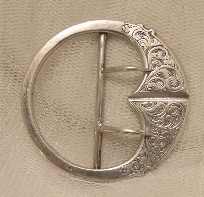 Antique Silver Tested Victorian-Edwardian Round Engraved Buckle. See  Descriptio