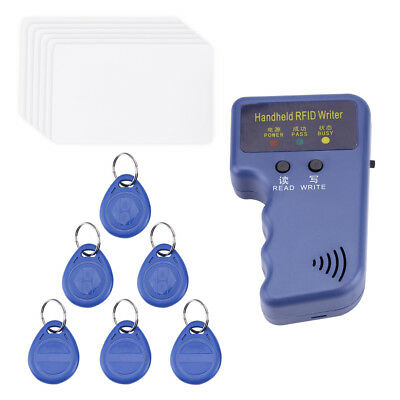 Blue 125KHz RFID/ID Card Reader Writer Copier Duplicator with 6 Cards/Tags Kit