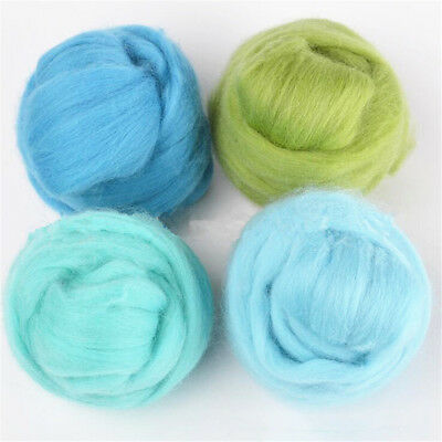 Wool Felt Soft Fiber Roving Set For Needle Felting Hand Spinning 10g DIY