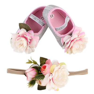 Baby Girl Shoes Brand,Flower Bow Toddler Infant Fabric Baby Booties Headband Set