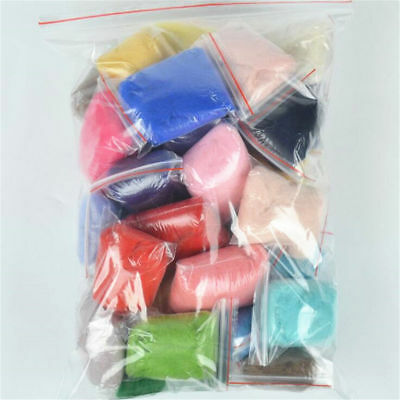 30 Bags Mix Colors Wool Soft Roving Set For Needle Felting Hand Spinning DIY