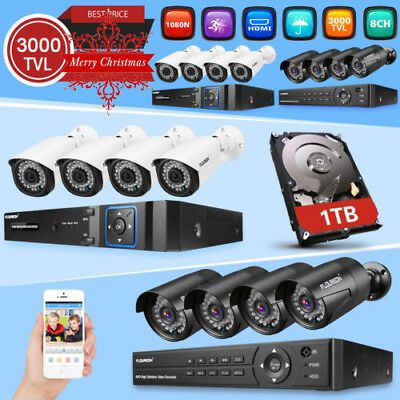 1TB 8CH 1080P CCTV DVR 3000TVL Outdoor Video IP Camera Home Security System Kit