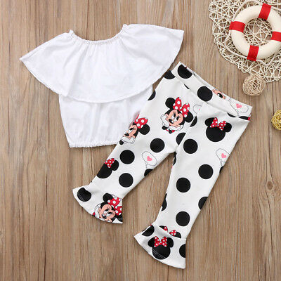 Cute Kids Girls Off Shoulder Top Minnie Bell-Bottom Trousers 2pcs Outfits Set