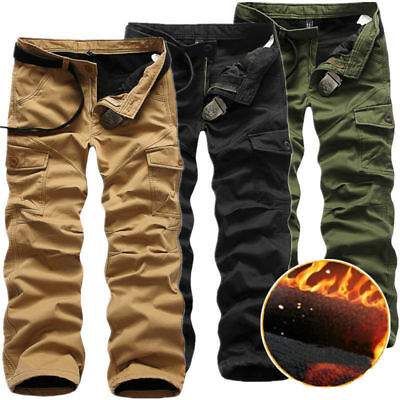 Neu Herren Winter Fleece Hose Warm Gefüttert Pants Thermohose Cargo Fleecefutte