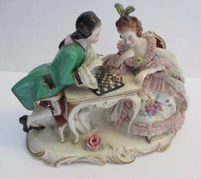 Dresden Porcelain  Figurines - Couple Playing Chess 22cm x 16cm high GC