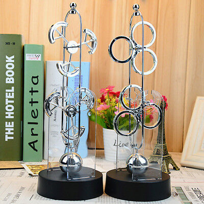Electric Stainless Steel Balance Rotation Physics Science Pendulum Desk Toy Gift