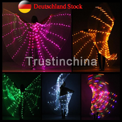 Women LED Light Isis Wings Belly Dance Costumes 360° Egyptian Sticks Performance